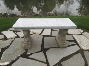 Carrara marble outdoor bench
